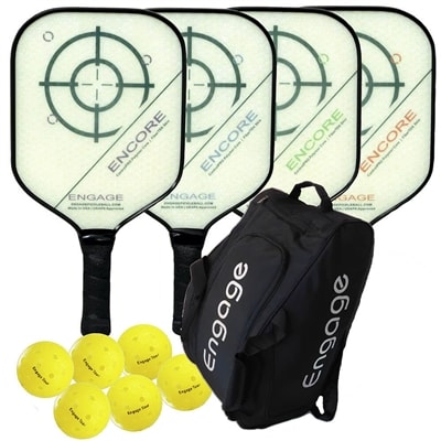 Engage Encore Composite Bundle w/Bag- includes four paddles, 6 outdoor balls and Team Bag.