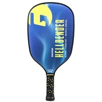 Hellbender Graphite Pickleball Paddle by GAMMA in blue and yellow graphics and a striking shape.