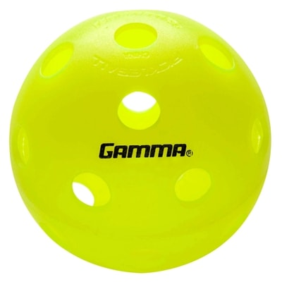 High visibility indoor pickleball from Gamma Sports, two-piece construction.