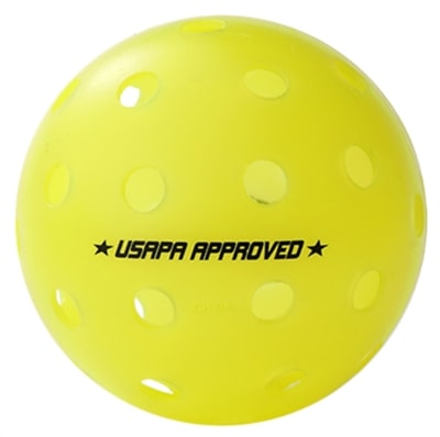 High visibility Outdoor pickleball from Gamma Sports, two-piece construction.