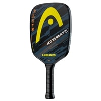 Gravity LH Pickleball Paddle in a long handled paddle with polymer core and graphite face. The front features a yellow HEAD logo and the back features an orange HEAD logo.