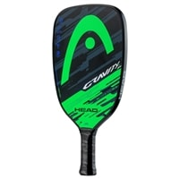 Gravity SH Pickleball Paddle is a short handled paddle. The front features a blue HEAD logo and the back features an green HEAD logo.