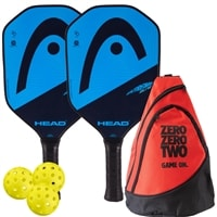 HEAD Extreme Elite Bundle w/Backpack- includes two paddles, 3 outdoor balls and backpack.