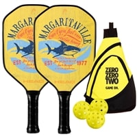 Margaritaville 'Fins' Bundle w/Sling Bag- includes two paddles, 3 outdoor balls and sling bag.