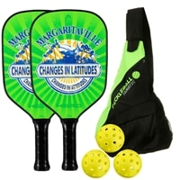 Margaritaville 'Changes in Latitudes' Bundle- includes two paddles, 3 outdoor balls and Sling Bag.