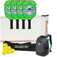 Margaritaville Changes in Latitudes Pickleball Set - Portable Net, Four Paddles, Six Outdoor pickleballs, and backpack