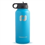 Premium water flask keeps liquids hot or cold, choose from baby blue or red.