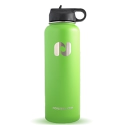 Premium water flask keeps liquids hot or cold, choose from green or blue