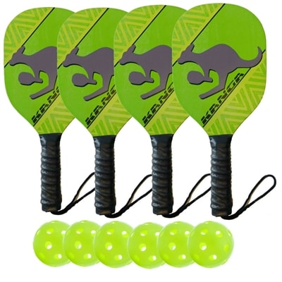 Kanga Wood Paddle Deluxe Bundle- includes four wood paddles and four outdoor balls