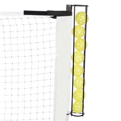 Fits easily on the end post of most portable net systems-holds 8 pickleballs, choose from round post (older models) or oval post (newer model)
