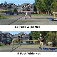 A versatile net with multiple setup options for practice drills or half court practice.