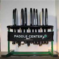 Storage system for up to 12 pickleball paddles.