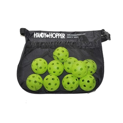 Handy Hopper Pickleball Holder, holds approximately a dozen pickleballs.