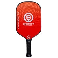 OneShot Pickleball PowerShot Series Paddle with a polypropylene core and fiberglass face, available in black camo, blue, gray, and red.