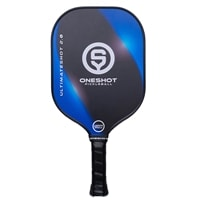 OneShot Pickleball UltimateShot 2.0 Series Paddle with a polypropylene core and composite fiberglass face. Available in Blue/Black, Red/Black, or Yellow/Black.