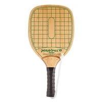 Swinger Pickleball Paddle-durable wood paddle with green checkerboard design, black handle wrap and wrist strap.
