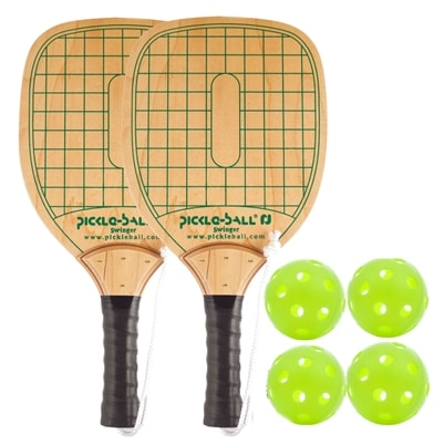 Swinger Wood Paddle Bundle- includes two wood paddles and four balls