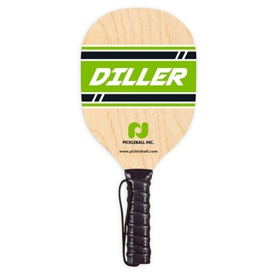 Taiwan Diller Paddle made from durable 7-layer plywood, green logo design, black handle wrap and wrist strap
