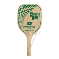 Diller Pickleball Paddle is a heavy wood paddle made from durable 7-layer plywood, wrist strap