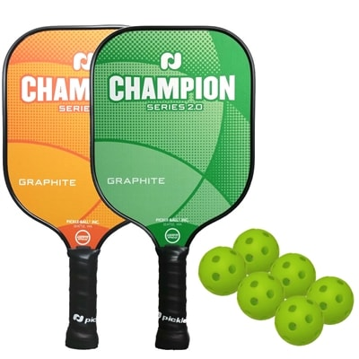 The Champion Bundle includes two graphite paddles and six balls.