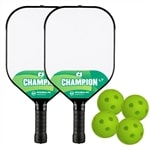 Champion LT Bundle- includes two composite paddles and four green indoor Jugs balls