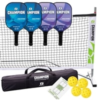 Champion PolyPro Set - Portable Net, Four Composite Paddles, Four Jugs pickleballs