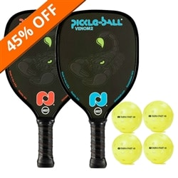 The Venom2 Bundle includes two paddles and four balls.