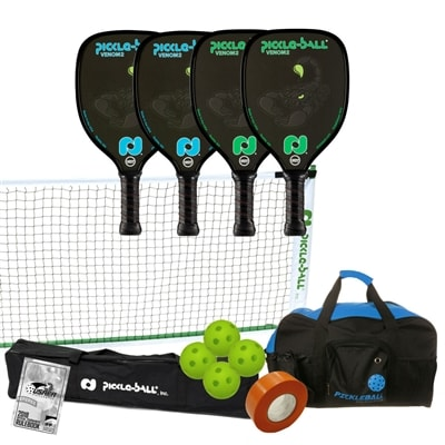 Venom2 Pickleball Set - Portable Net, Four Paddles, Four Pickleballs, Bag, Tape and Rule Book