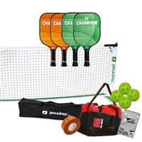 Deluxe Pickleball Set - Portable Net, Four Graphite Paddles, Four Pickleballs, Bag, Tape and Rule Book