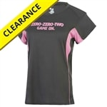 """Zero-Zero-Two Game On"" Pickleball shirt for women in gray with bright pink accent colors and PickelballCentral logo screen printed on upper back."
