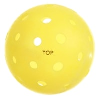 The TOP Ball is a durable seamless outdoor pickleball, available in neon, yellow, orange, or white.