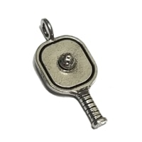 Pickleball Charm made from pewter, add to a charm bracelet or use as a zipper pull.