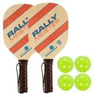 Rally Meister Bundle- includes two wood paddles with premium cushion grip and four outdoor balls