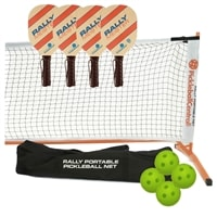 Rally Meister Set-Four wood paddles, portable net, and balls.