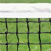PickleballCentral Permanent Pickleball Net - regulation size net features steel cable through vinyl headband.