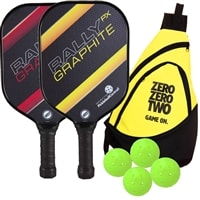 Rally PX Graphite bundle includes two paddles, four balls and a sling bag