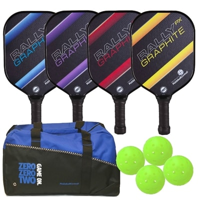 Rally PX Graphite Four Paddle Bundle- includes duffle bag, and four balls