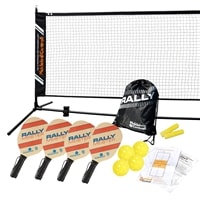Rally Meister Beginners Set -Four wood paddles, net, rule sheet, sling bag, line chalk, and balls.