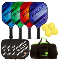 Rally Flare Graphite 4-Pack Bundle- includes four paddles, balls, bag and covers