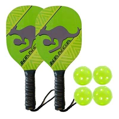 Kanga Wood Paddle Bundle- includes two wood paddles and four outdoor balls