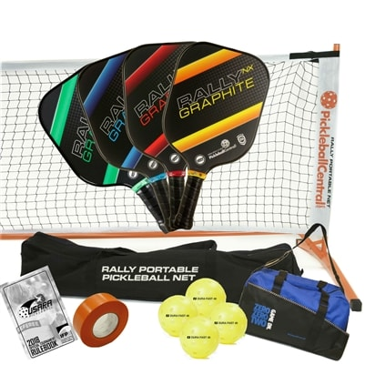 Rally NX Deluxe Set - Portable Net, Four Graphite Paddles, Four Pickleballs, Bag, Tape and Rule Book