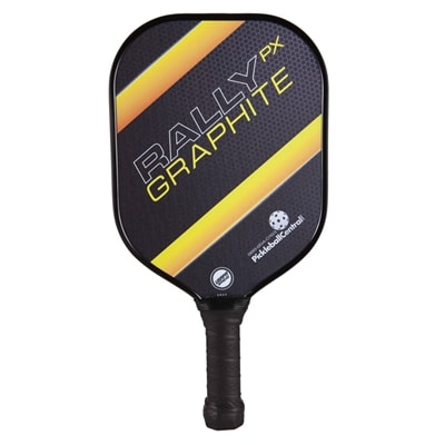 The Rally PX Graphite with polypropylene core and graphite face, choose from blue green, red or yellow.