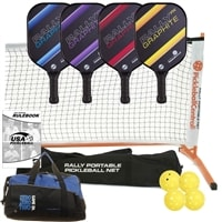 Rally PX Deluxe Set - Portable Net, Four Graphite Paddles, Four Pickleballs, Bag, Tape and Rule Book