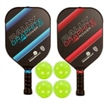 Rally Graphite Power 2.0 Bundle, two middleweight composite paddles and four indoor balls