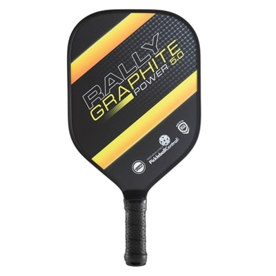 The Rally Graphite Power 5.0 with polypropylene core and graphite face, choose from blue green, red or yellow in thicker core for increased power.