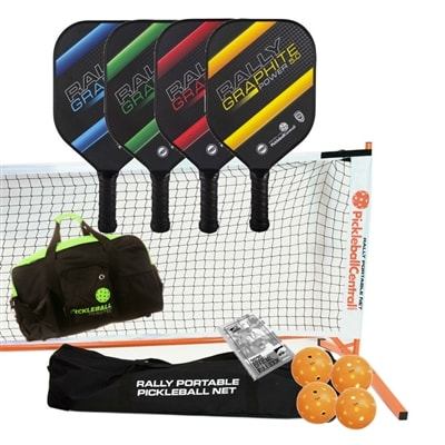 Rally Graphite Power 5.0 Set - Portable Net, Four Graphite Paddles, Four pickleballs, Duffel, Rule book