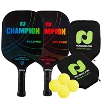 Champion Eclipse Graphite Bundle includes two paddles, two covers and four balls.