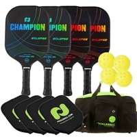 Champion Eclipse Graphite 4-Pack Bundle - 4 graphite paddles, 4 balls, 4 covers, and bag