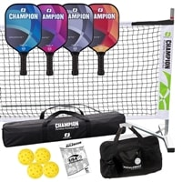 Champion Graphite X Set - Portable Net, Four Paddles, Four Outdoor pickleballs, Duffel and rule book.