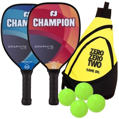 Champion Graphite Elite Bundle includes two paddles, four balls and a sling bag